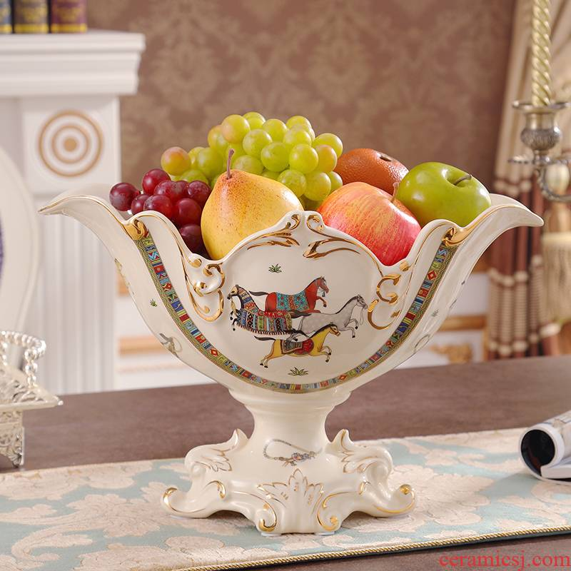 European ceramic compote creative high fruit bowl suit high - end key-2 luxury home decoration sitting room porch place