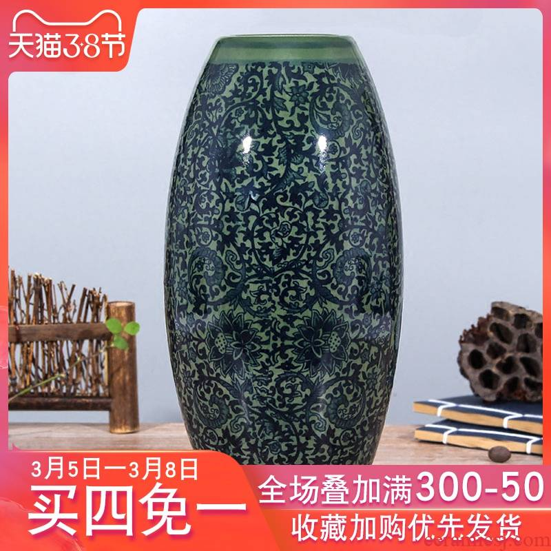 Jingdezhen blue and white antique ceramics flower flower flower bottle wine sitting room adornment Chinese handicraft furnishing articles