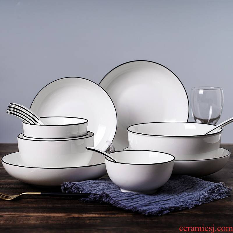 Jingdezhen Japanese dishes suit household microwave oven eat bowl Nordic ceramic bowl chopsticks plate tableware