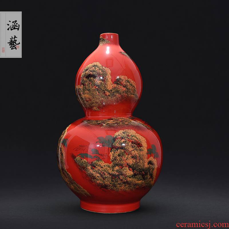 Jingdezhen ceramics ink lottery landscape family big vases, new Chinese style furnishing articles flower arrangement sitting room adornment handicraft