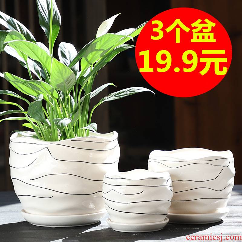 Contracted white flower pot ceramic heavy large special offer a clearance of creative move more than other small household meat potted flower