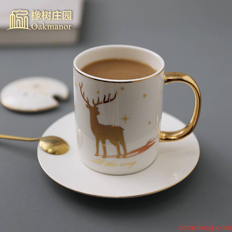 Nordic contracted literary elk mark cup with cover teaspoons of coloured drawing or pattern household glass ceramic cup constellation lovers coffee cup