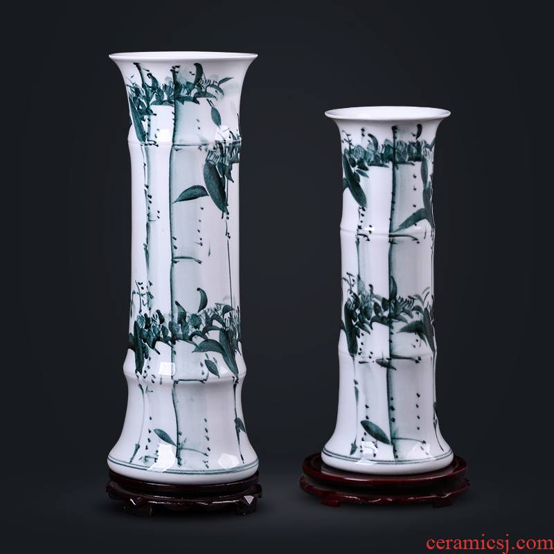 Jingdezhen ceramics lucky bamboo vase furnishing articles sitting room flower arranging hydroponic flower implement landing large TV ark, adornment