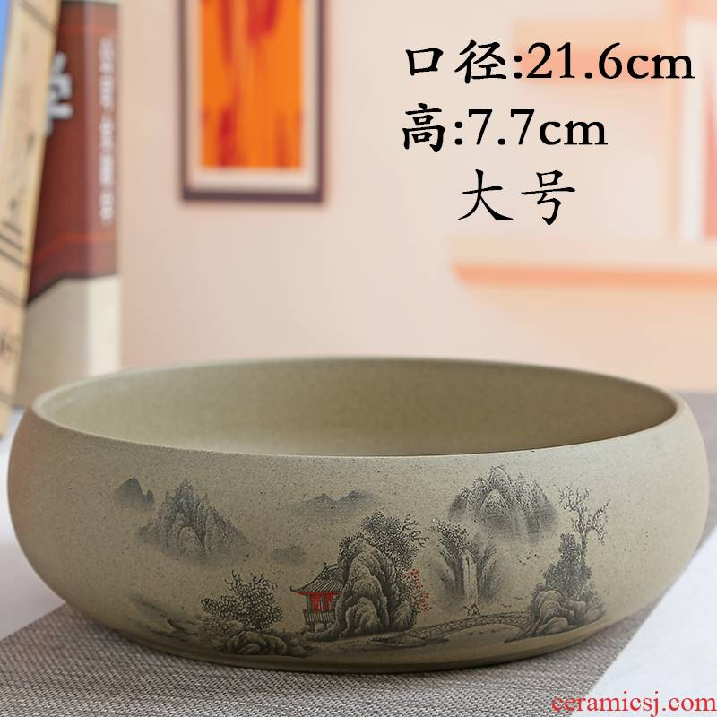 TaoXin language refers to grass cooper water raise no hole ceramic flower pot lucky bamboo bowl lotus hydroponic coarse pottery, fleshy tuba basin