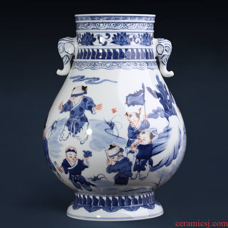 Jingdezhen ceramics hand - made antique blue and white porcelain vase furnishing articles sitting room flower arranging new Chinese style household ornaments