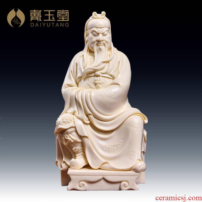 Yutang dai Lin Jiansheng manually signed the set limit to 100 edition of dehua porcelain carving art furnishing articles duke guan/D03-166