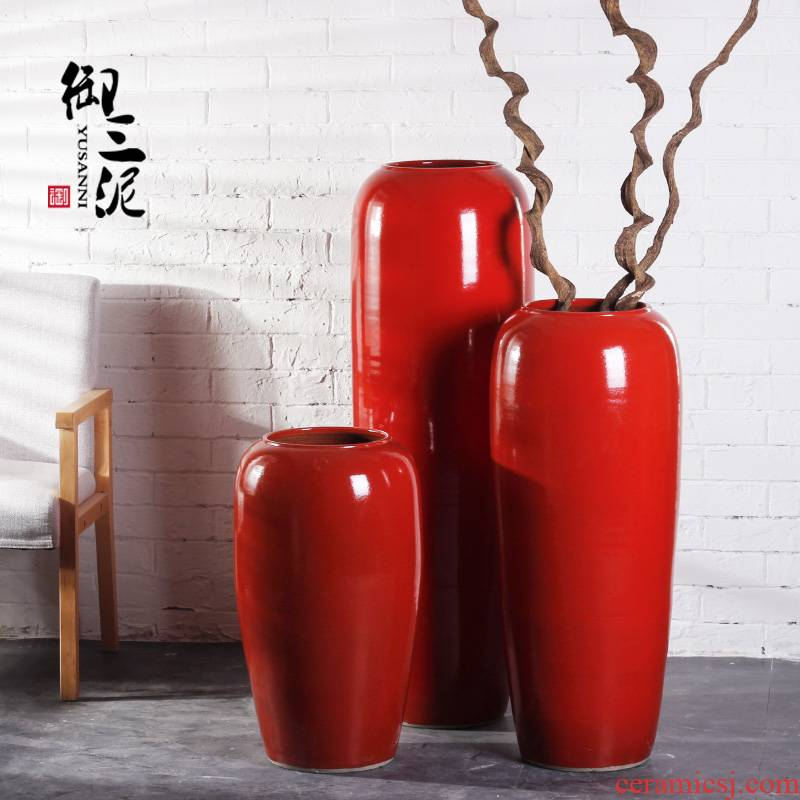 Jingdezhen ceramic floor big vase Chinese red flower arranging furnishing articles sitting room courtyard exhibition hall decoration from the opened in China