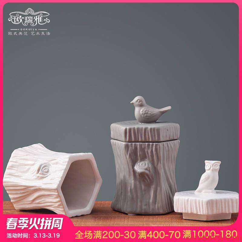 European storage tank hallway table candy jar ceramic decoration I and contracted creative home furnishing articles