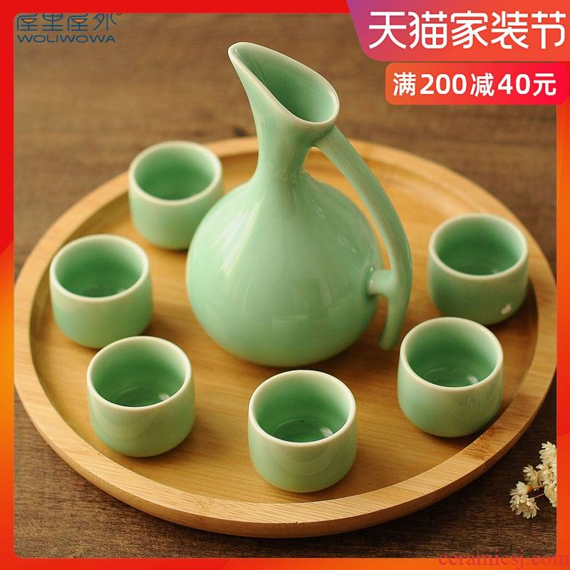 Creative wine suit wine glass ceramic liquor cup suit household flagon of wine wine wine small a small handleless wine cup