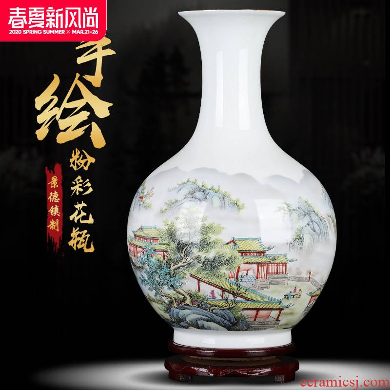 Jingdezhen ceramic peony vases, flower arranging machine sitting room office decorations furnishing articles large porcelain restoring ancient ways