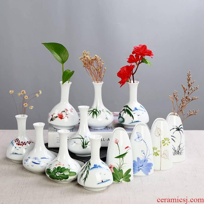 White vase hand - made celadon ceramics flowerpots indoor dry flower adornment desktop furnishing articles bottle water raise hydroponic the plants