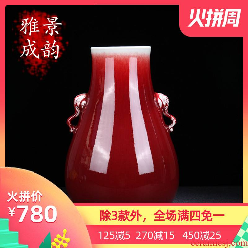 Jingdezhen ceramic new Chinese style ruby red elephant statute of vases, decorative furnishing articles home TV ark, beside the flower arrangement
