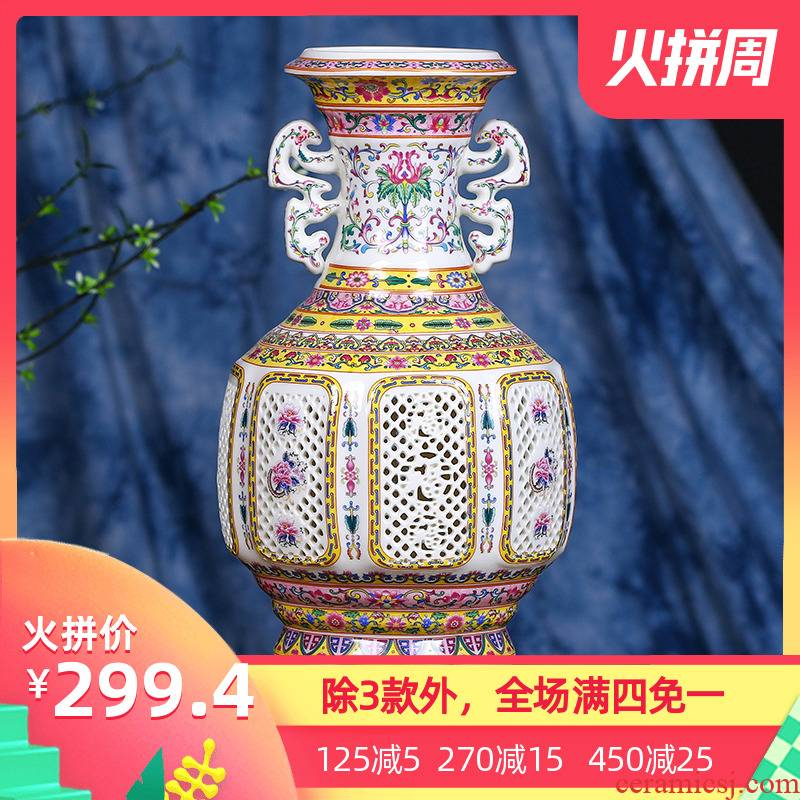 Jingdezhen ceramic hollow vase modern furnishing articles vase ou type TV ark, creative porch decoration of Chinese style