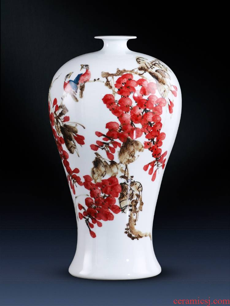 Jingdezhen ceramics vase hand - made sabingga sukdun dergici jimbi name plum bottle of flower arranging new Chinese I sitting room decoration
