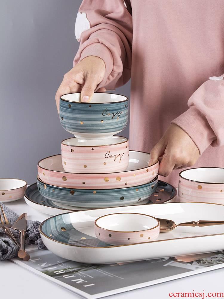 Job home web celebrity style good - & tableware ceramic bowl dish combination western food dish ins wind creative dishes chopsticks