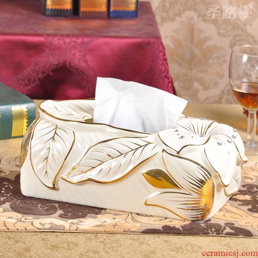 SAN road fort European ceramic tissue box creative paint set auger pump box sitting room move home furnishing articles