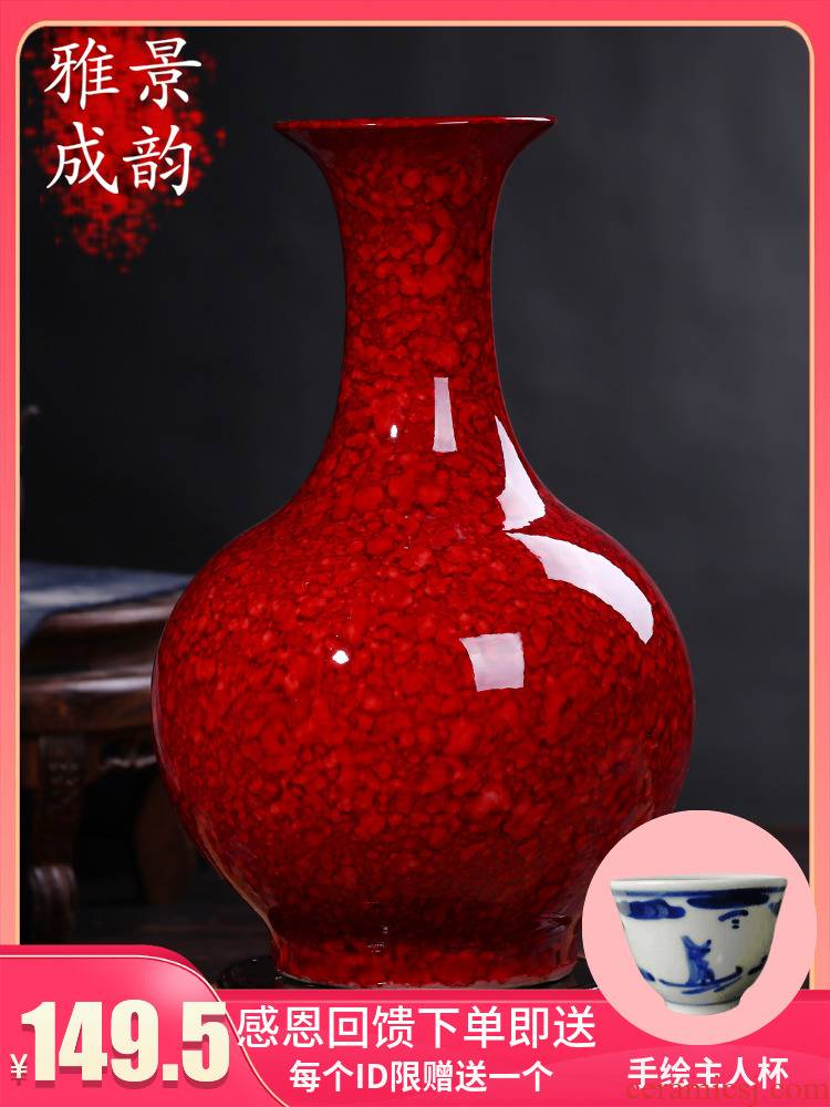 Jingdezhen ceramic Chinese red vase furnishing articles home decoration new Chinese flower arranging bottle porcelain arts and crafts