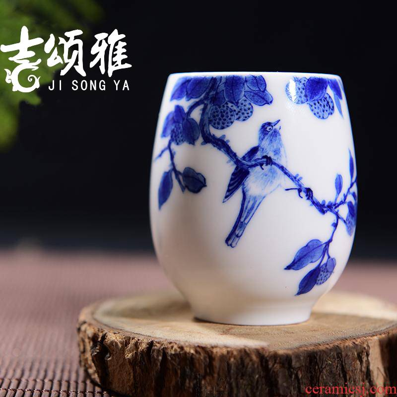 Blue and white porcelain teacup manual single cup sample tea cup tea cup kung fu tea cups on the branches
