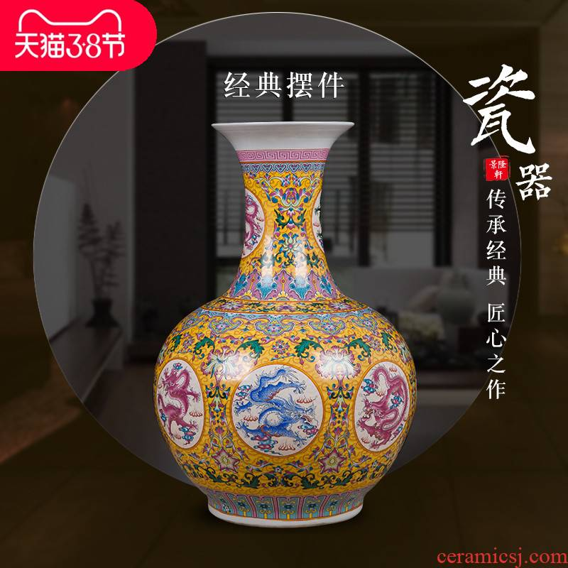 Jingdezhen ceramics of large vase household decorations arts and crafts office furnishing articles feng shui town curtilage sitting room