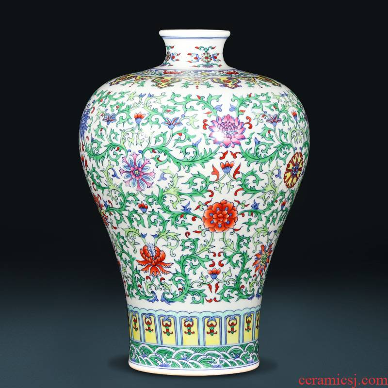 Jingdezhen ceramics imitation yongzheng hand - made color bucket vases, flower arranging archaize sitting room of the new Chinese style household adornment furnishing articles