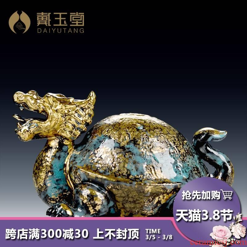 Yutang dai ceramic bronze color god beast straining three fine toad dragon turtle rock arowana fish craft ornaments furnishing articles