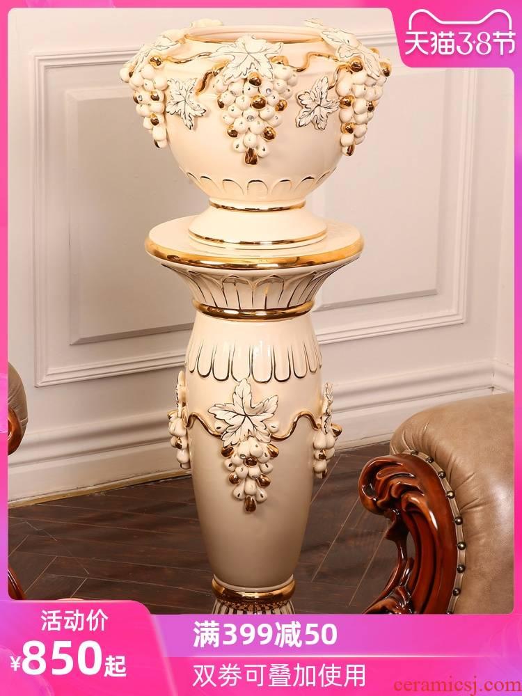 Key-2 Luxury European - style ceramics vase flower arrangement sitting room place the hotel villa large ground flowerpot Roman column ornaments