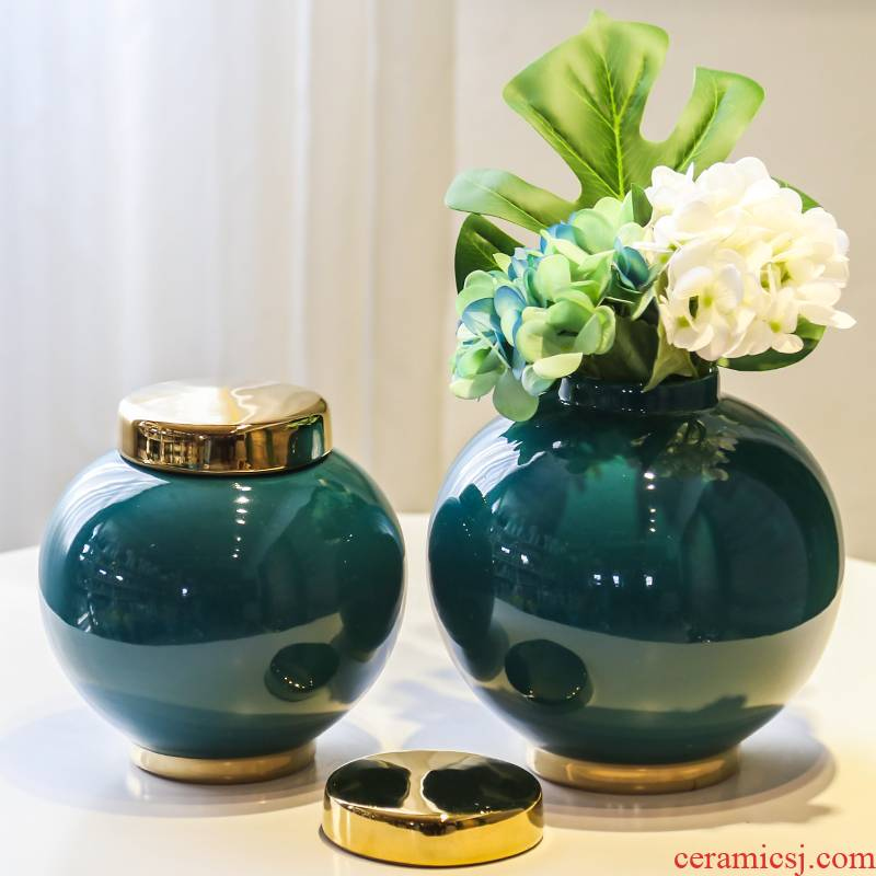 Jingdezhen ceramic flower vases of new Chinese style living room TV cabinet table light key-2 luxury furnishing articles simulation flowers, artificial flowers