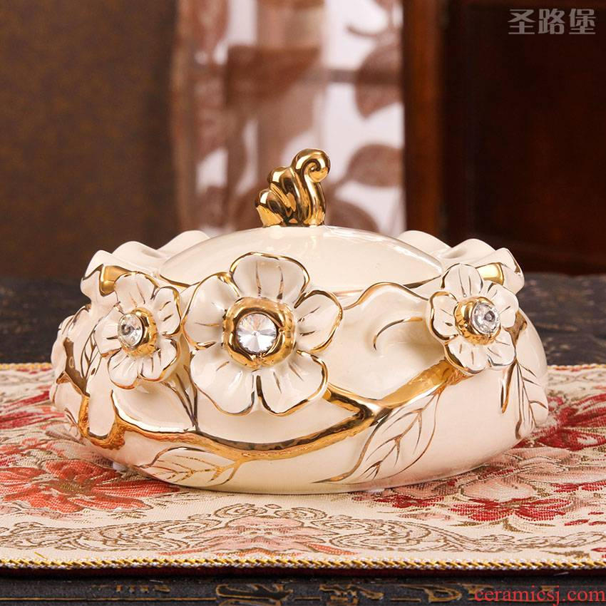 European ceramic ashtray soot sitting room to receive practical ashtray furnishing articles package mail cassette cover creative move