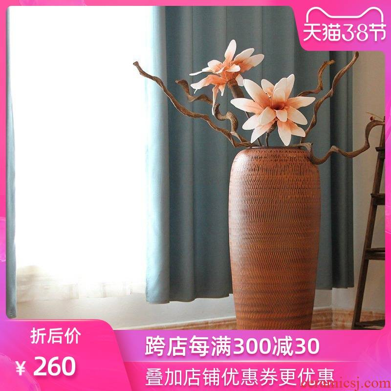 Ceramic clay POTS European sitting room of large vase household adornment flowers flower garden hotel coarse pottery furnishing articles