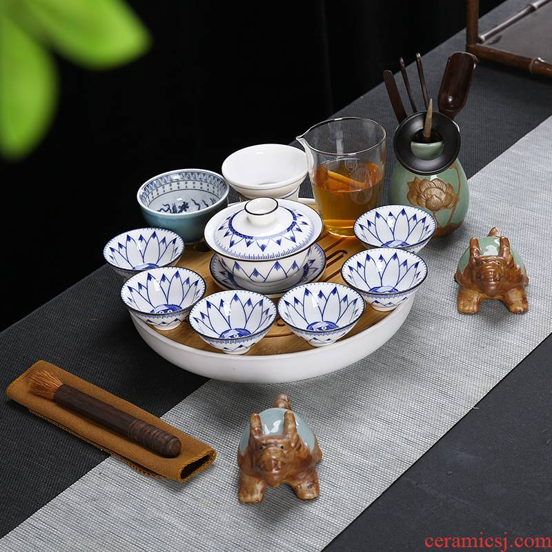Pad printing white porcelain suet jade kung fu tea set suit Japanese household contracted and I of a complete set of small tureen tea cup
