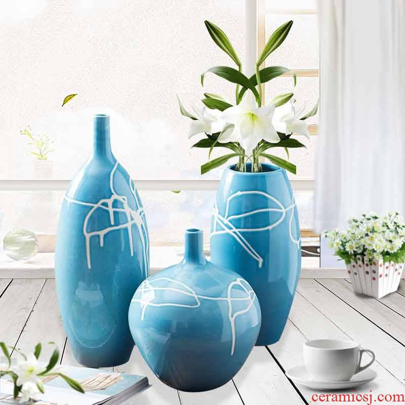 Creative household ceramic vase three - piece sitting room ground ceramic wine accessories furnishing articles process decoration carving