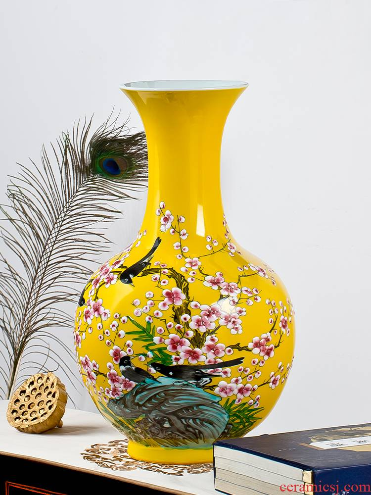 Jingdezhen ceramics vase large flowers in new Chinese style household adornment furnishing articles hand - made porcelain decoration in the living room