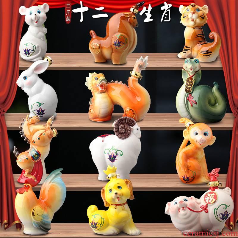 Jingdezhen ceramic bottle jars 3 jins colored enamel cartoon zodiac decoration seal wine