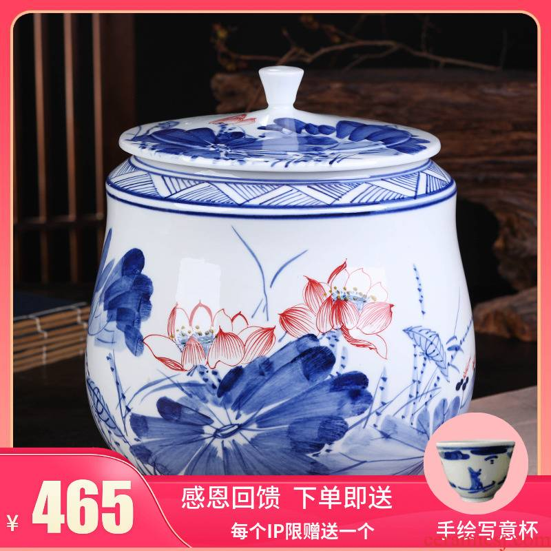 Jingdezhen ceramic large in blue and white porcelain tea pot of pu 'er tea boxes sealed storage tank