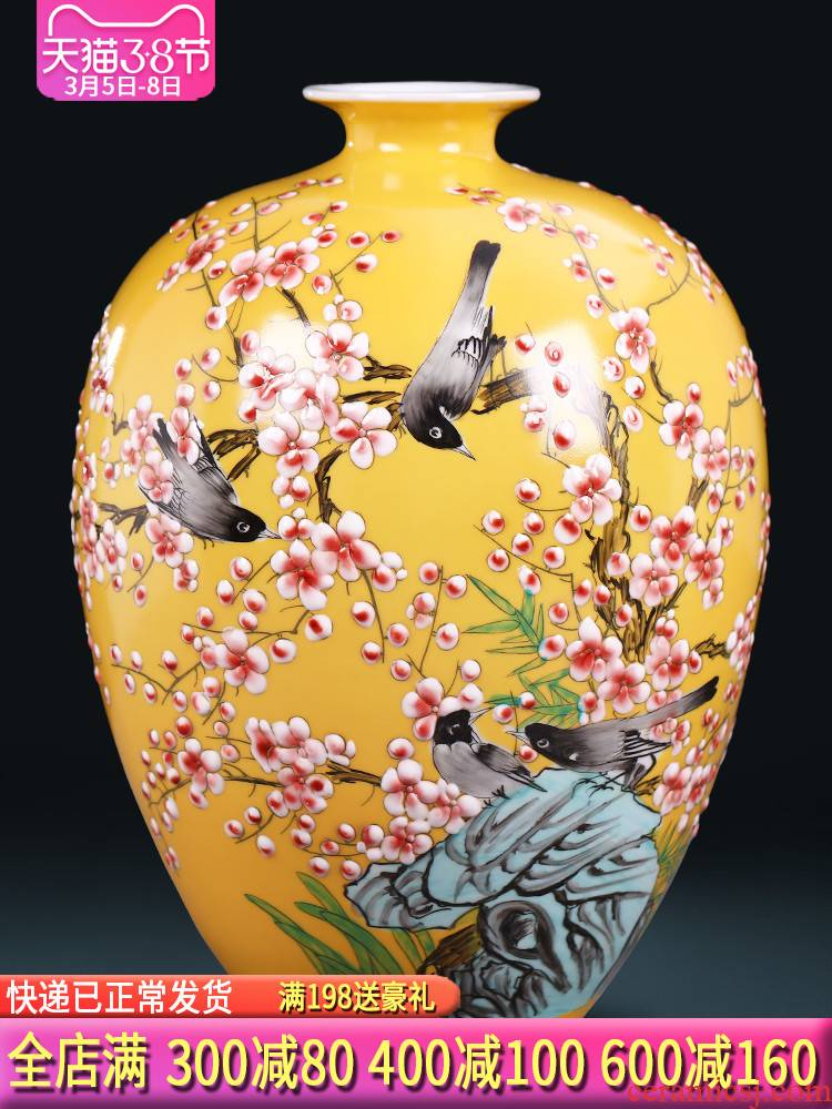 The Master of jingdezhen ceramics hand - made enamel vase flower arranging, new Chinese style living room TV ark adornment furnishing articles