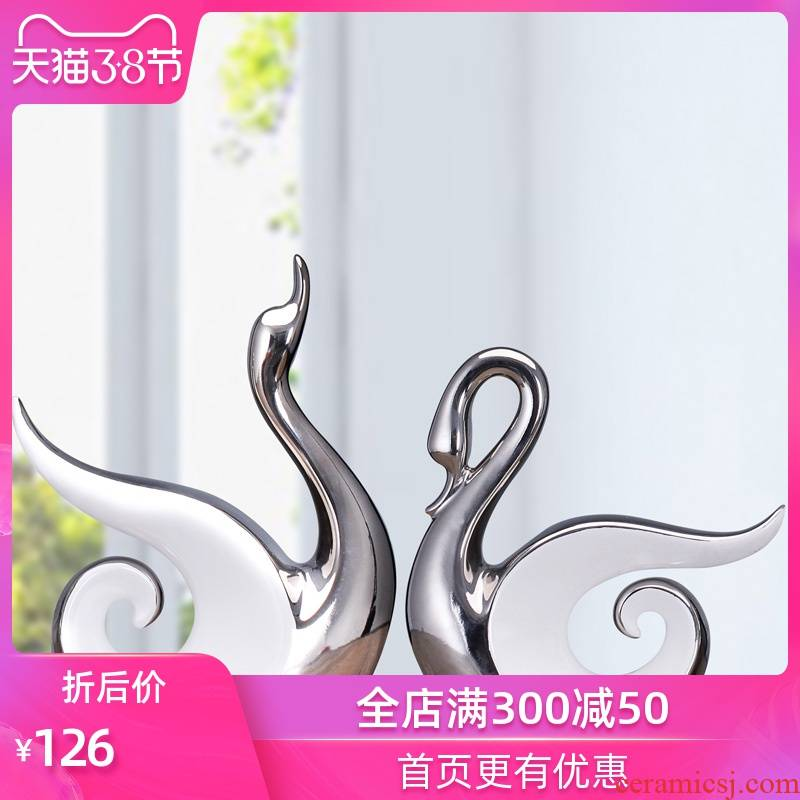 Household act the role ofing is tasted contracted Europe type creative home decoration ceramic arts and crafts silver couples swan furnishing articles