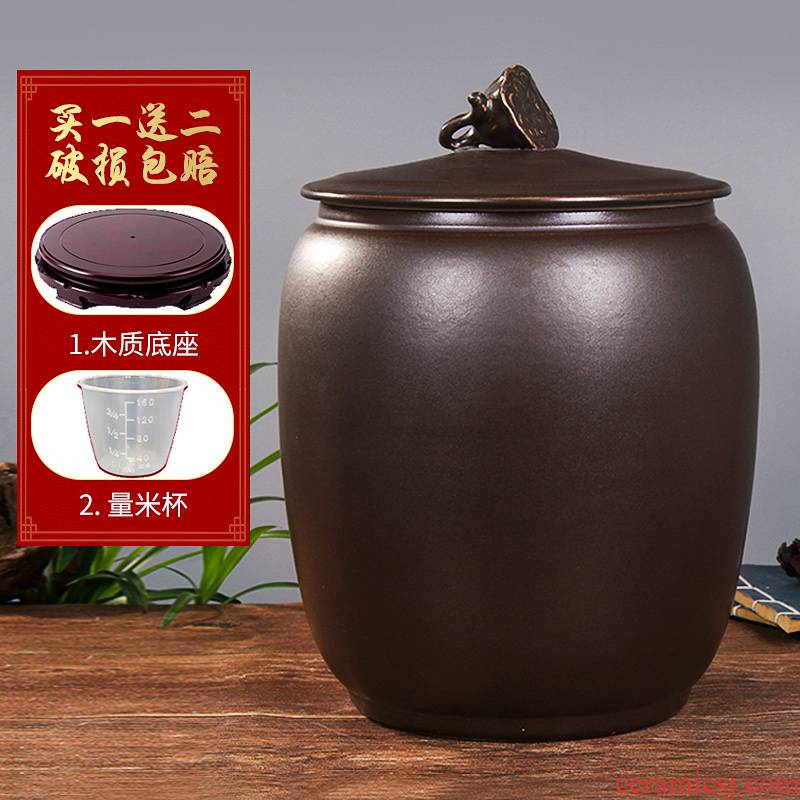 Jingdezhen household moistureproof insect - resistant seal type ceramic barrel ricer box storage tank with cover rice storage box