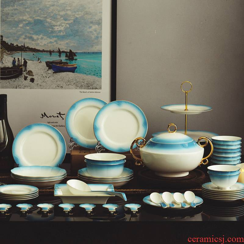 The dishes yourself see European contracted household jingdezhen manual composite ipads porcelain tableware ceramics dishes set to use