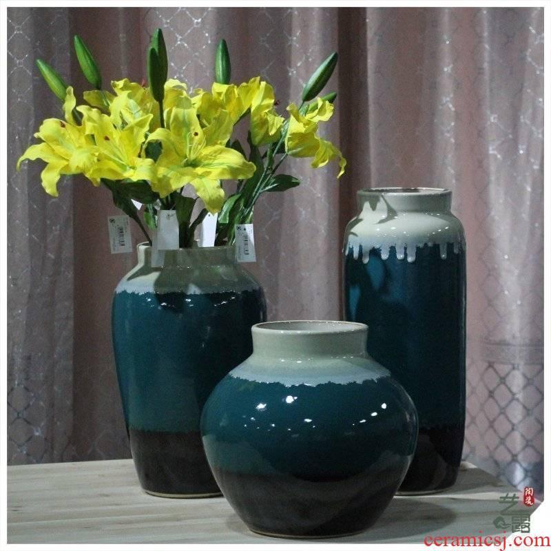 Jingdezhen ceramic up furnishing articles vases, pottery vase living room TV cabinet decorative porcelain vase
