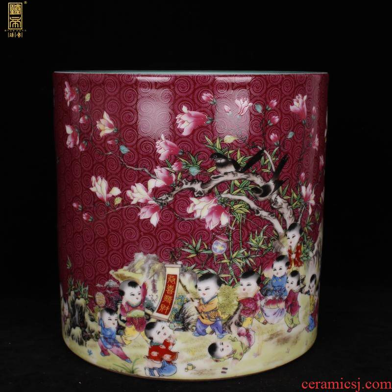 "Jingdezhen imitation antique porcelain enamel color big brush pot ""four desk pen sea Chinese style household company office furnishing articles"
