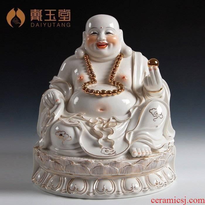 Yutang dai smiling Buddha Buddha handicraft dehua white porcelain/15 inch gold by GuLian maitreya D01-385
