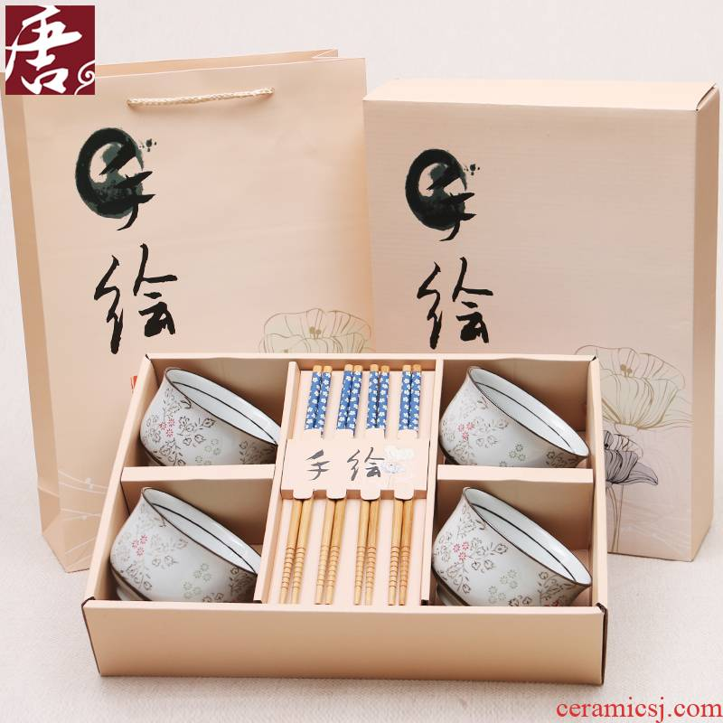 Japanese ceramic bowl to eat small bowl chopsticks combination suit household rice bowls express picking students tableware gift boxes