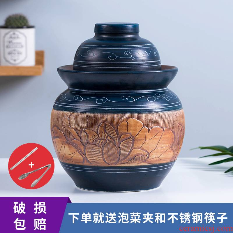 Jingdezhen ceramic pickle jar kimchi altar seal storage tank sichuan pickles pickled vegetables by double cover snacks pot