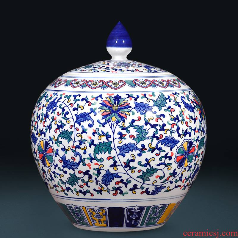Jingdezhen ceramics archaize storage tank of blue and white porcelain tea pot of new Chinese style adornment furnishing articles large living room