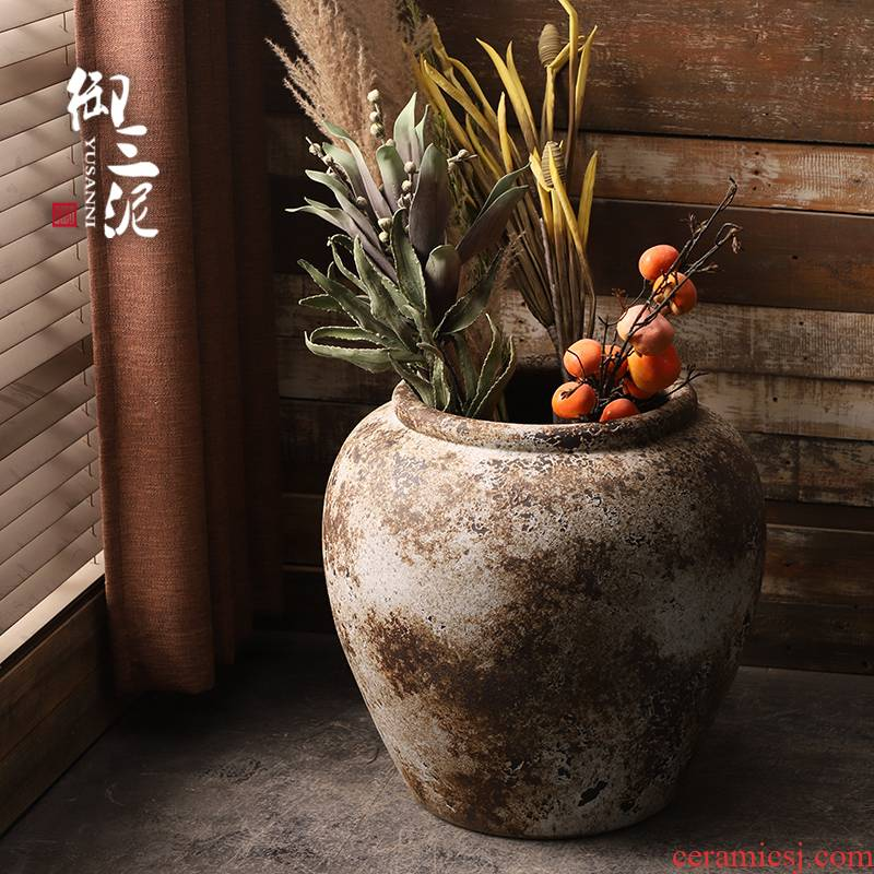 Ceramic VAT coarse clay manual circle altar tank clay flowerpot tank floor furnishing articles courtyard garden
