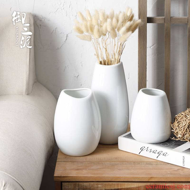 Nordic vase all over the sky star, white ceramic flower, dried flower vase European - style decoration contracted sitting room flower arranging furnishing articles