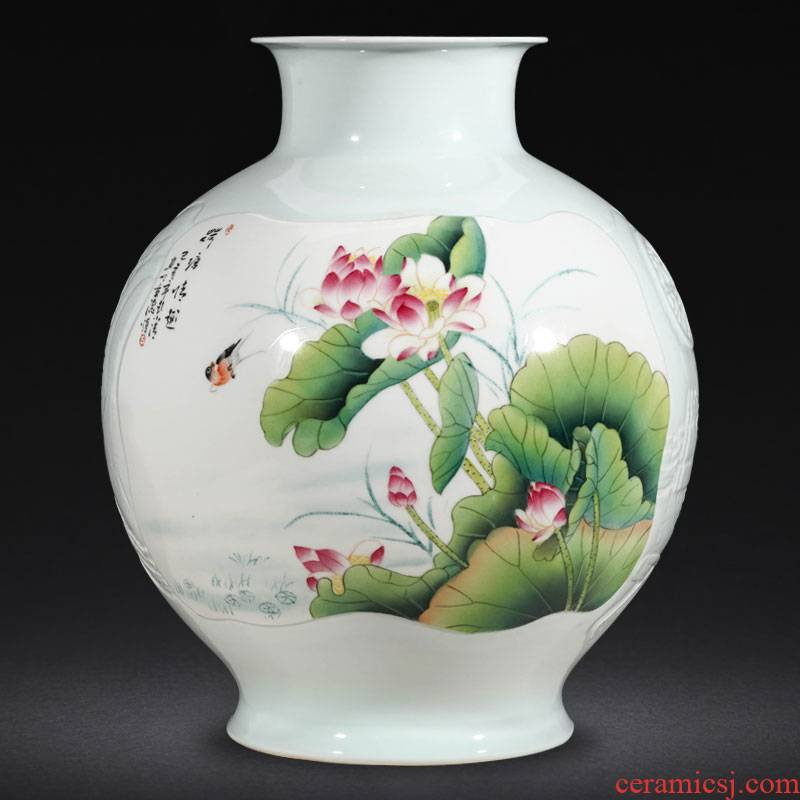 Jingdezhen ceramic masters hand shadow blue vase carving furnishing articles sitting room flower arranging high - grade Chinese style household ornaments