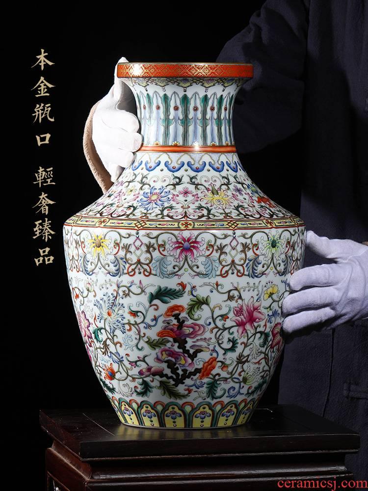Jia lage jingdezhen porcelain furnishing articles YangShiQi hand - made the qing qianlong ocean color rui zhi, the zen lines and vase