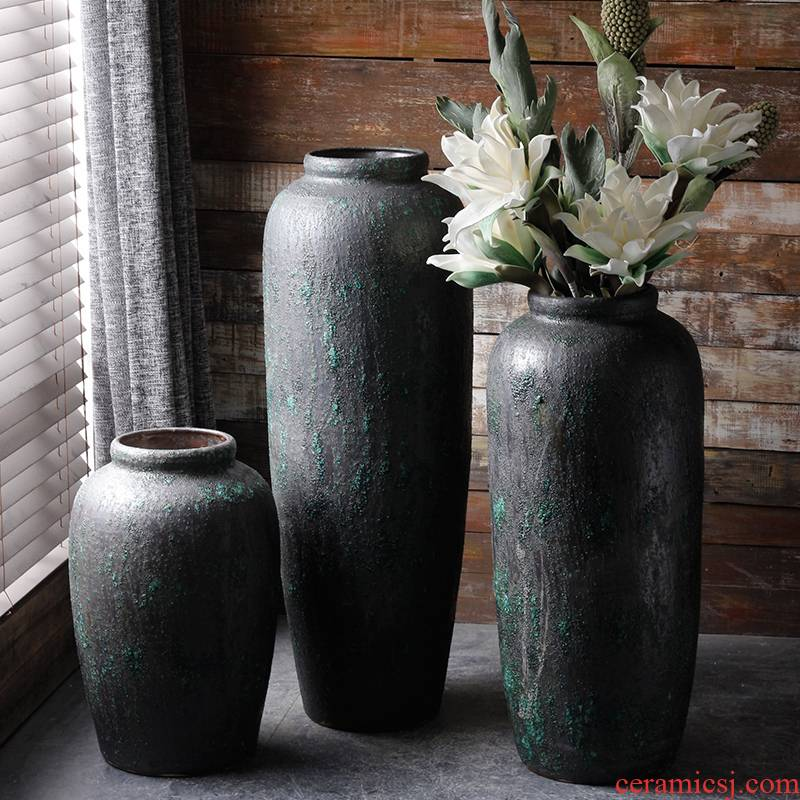 Modern manual ground ceramic vase coarse pottery basin of flower arranging flower implement simple dry flower simulation flower adornment restoring ancient ways