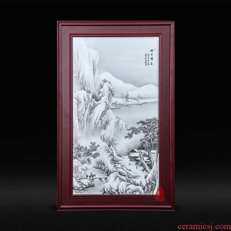 Jingdezhen ceramics back through the snow Zhou Xiaohui hand - made porcelain plate painting decoration hanging paintings of Chinese style living room furnishing articles